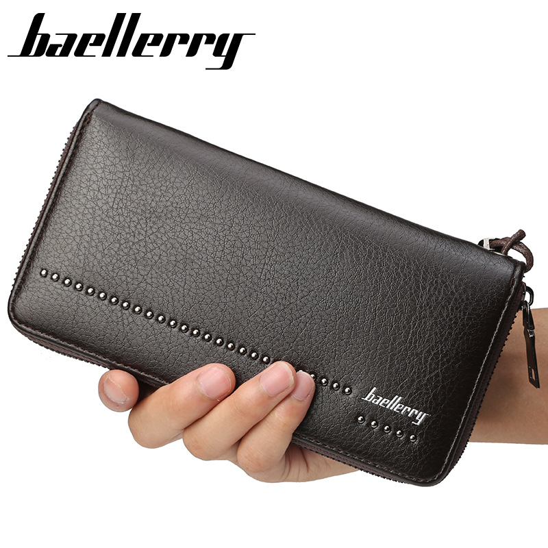 Baellerry Brand Designer Long Clutch Wallets Rivet Male Purses Phone Pocket Card Holder Man Wallet Large Capacity Purse Wallet цена 2017