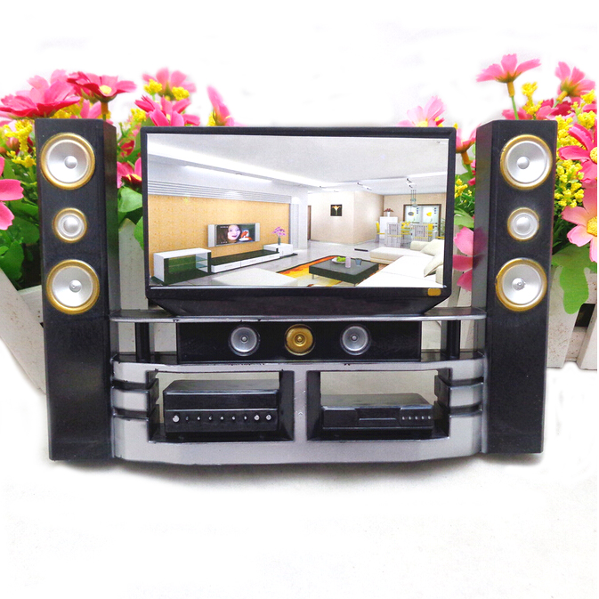 Baby Toys Mini Hi-Fi 1:6 TV Home Theater Cabinet Set Combo For Barbie Doll Clothes Dress Accessory House Furniture High Quality