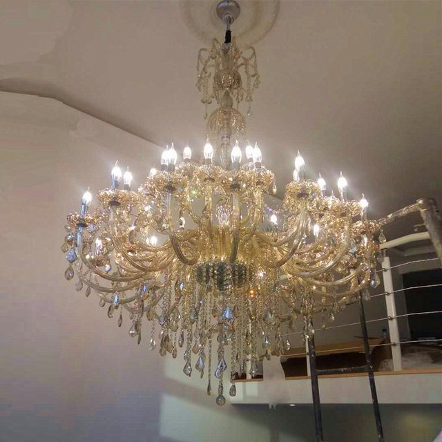 Large Chandelier For Living Room Modern Crystal Chandeliers Hotel Entrance Hall Champagne Suspended Chandelies