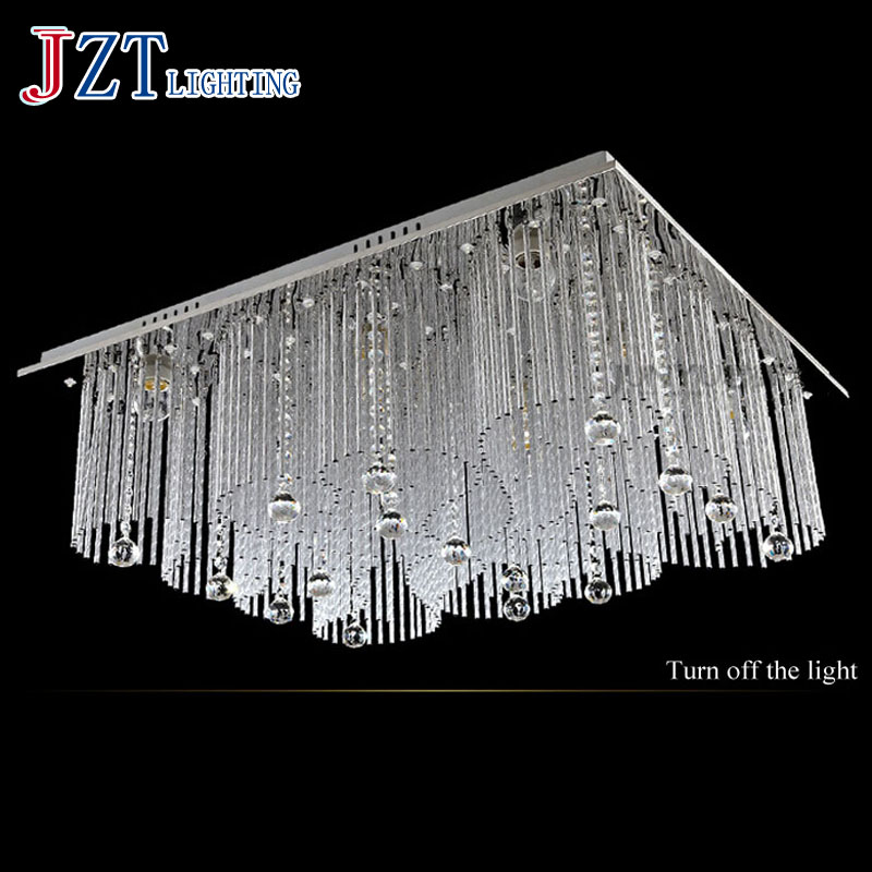 T Lucury Romantic Rectangular Crystal Ceiling Light Modern Creative LED Super bright Lamps For Foyer Balcony Bedroom DHL Free
