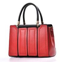 Novelty Women Top Handle Bag Color Block Patchword One Shoulder Bag OL Style Elegant Tote Handbag