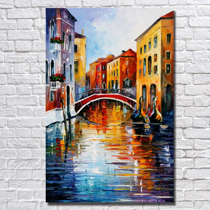 Big Size 100% Hand Painted Beautiful River Landscape Palette Knife Painting On Canvas For Living Room Decor No Framed