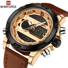 NAVIFORCE ТОП Luxury Brand мужские Кварцевые Водонепроницаемые Часы Моды для Мужчин Спортивные Часы Человек Кожа Военные Часы Relogio Masculino