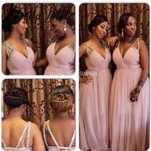Deep V-neck Pink Long Bridesmaid Dress Robe Demoiselle D'honneur Tulle Wedding Party Dress Vestido De Festa De Casamento