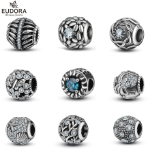 Eudora New Collection 100% 925 Sterling Silver Clear CZ Round Beads Charms fit Bracelet DIY Jewelry Pendants Christmas gift