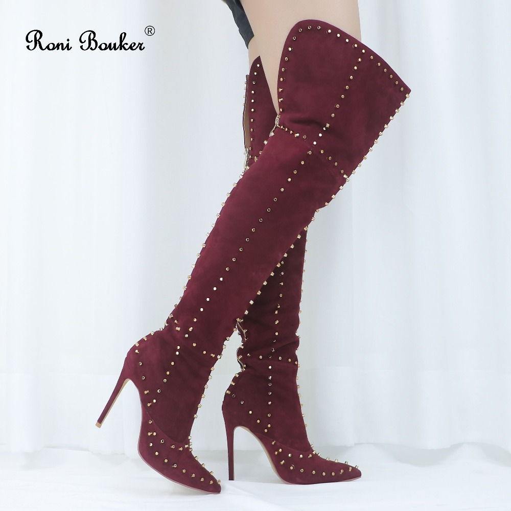 Roni Bouker chaussures en cuir véritable femme sur le genou talons hauts bottes femme mode talon aiguille bout pointu dos avec fermeture éclair