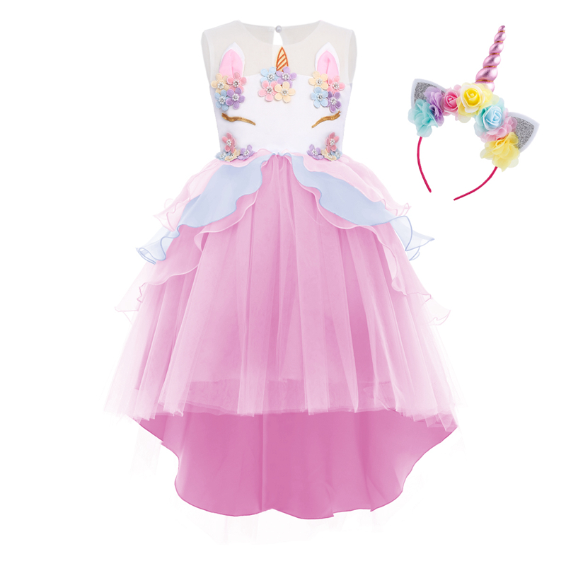 Elegant Girls Flower Unicorn Dress Up 2pcs Ruffles Bead Tutu Tulle Ball Gown Dress Headband Unicorn Cosplay Party Princess Dress(China)