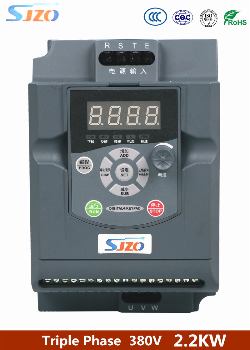 SJZO ZQ100M Series 3 Phase 380V Input Wave Power Variable Frequency Inverter 2.2KW Speed Drive for AC Three Phase Electric <font><b>Motor</b></font> image