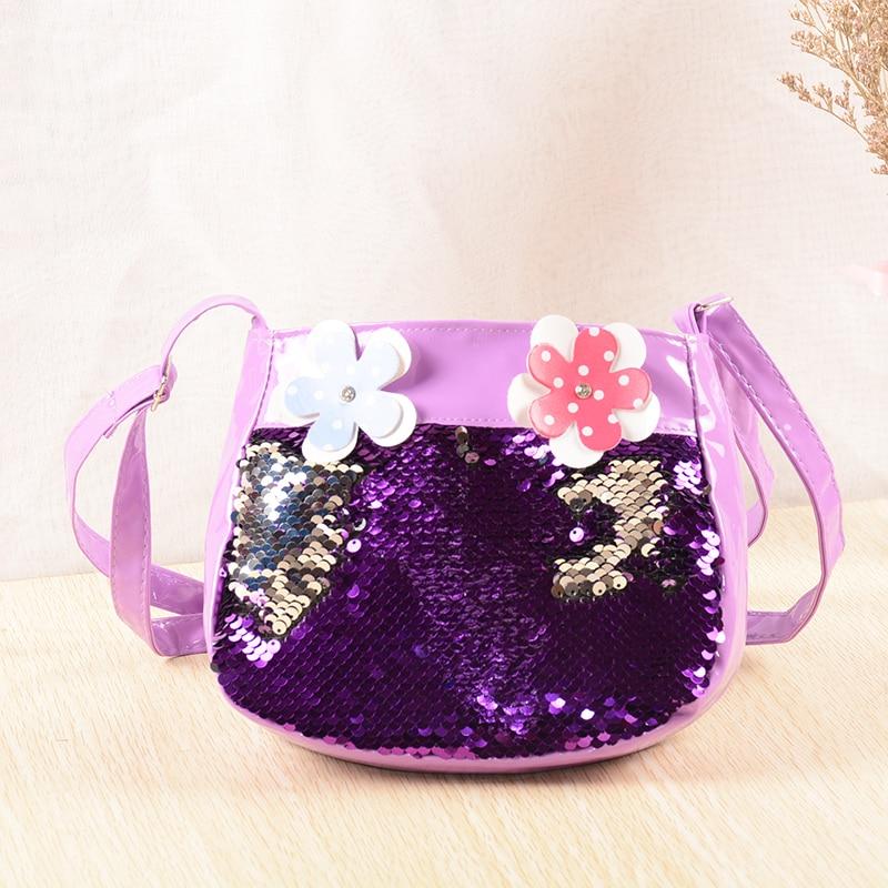 New Baby Girls Shoulder Bag Sequined Lovely Children Mini Messenger Bags Flowers Cute Kids Coin Purse Handbags Bolsa