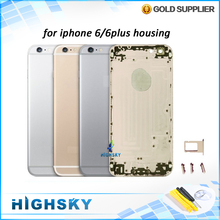 Replacement parts 4.7 inch for iphone 6 housing 5.5 inch 6 plus metal alloy cover battery door 1 piece free shipping
