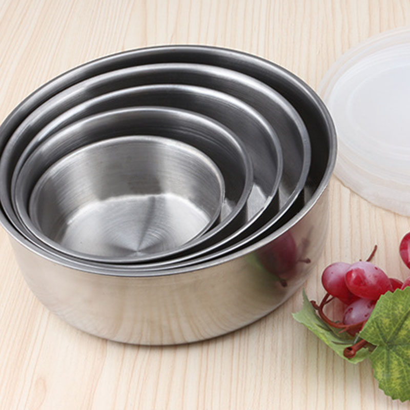 Round Shape Preservation Bowls Tools Stainless Steel Kitchen Dinnerware Food Container Lunch Box silver size5 7