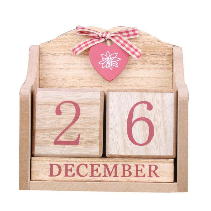 все цены на 1PC Decorative Wooden Calendar Desktop Calendar DIY Yearly Planner Pen Holder Desk School Business Office Stationery Supplies онлайн