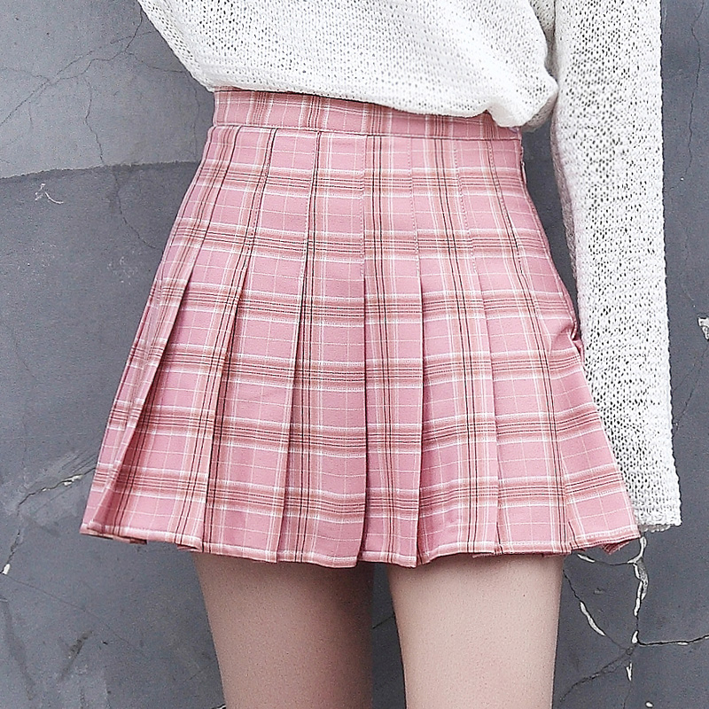 6c021d5cf Harajuku mujeres Falda plisada estilo Preppy lindas faldas a cuadros  uniformes escolares japoneses ...