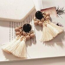 HOCOLE Trendy Earings Jewelry Bohemian Tassel Earrings boucle doreille Silk Fabric Long Drop For Women Wedding