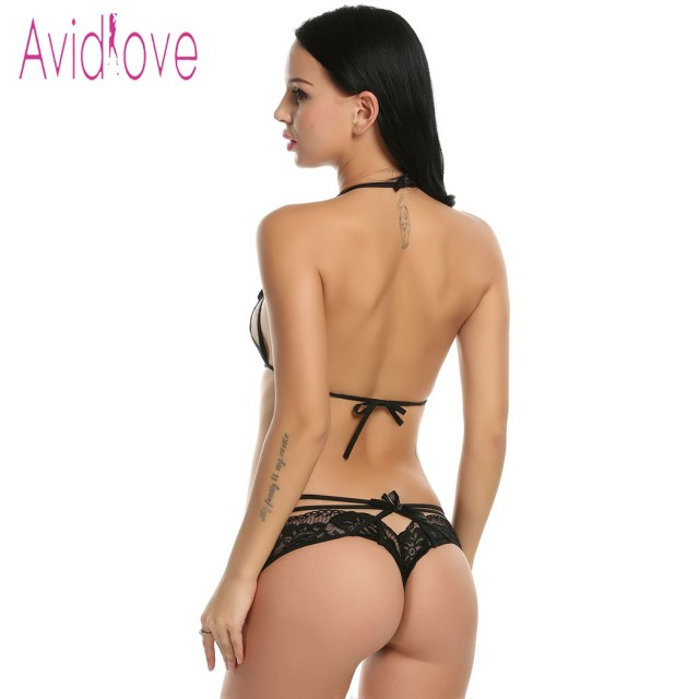 Avidlove Sexy Lingerie Set Women Sexy Two Pieces Hollow Floral Lace Bra and Panty Lingerie Set 2