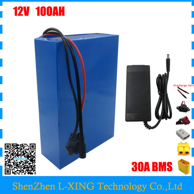 High quality 350W 12V 100AH battery 12 V 100AH Lithium ion battery for 12V 3S Li ion Battery with 5A charger EU US no tax 12 6v8a 12 6v 8a intelligence lithium li ion battery charger for 3series 12v lithium polymer battery pack good quality