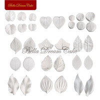 12set Leaves Veiner Silicone Mold Fondant Sugarcraft Silicone Veined Moulds Set Cake Decorating Tool Bakeware