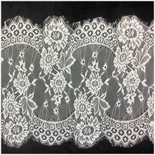 3Meters/Lot White Eyelashes Lace Trim Fabric Flower Width/34.5cm Wedding Dress Clothing accessories african lace fabric Material 3meters embroidered eyelash lace ribbon black white wedding dress lace trim sewing width 9cm clothing accessories lace material