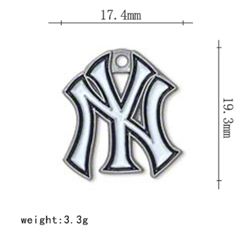 3 Styles NY Yankee Charms Alloy Crystal Baseball Team Logo Charms For DIY Necklace & Bracelet & Earring Jewelry