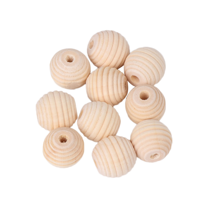 10Pcs Baby Grinding Beads Teether Chewing Natural Wood DIY Crafts Round Thread Drop Shipping