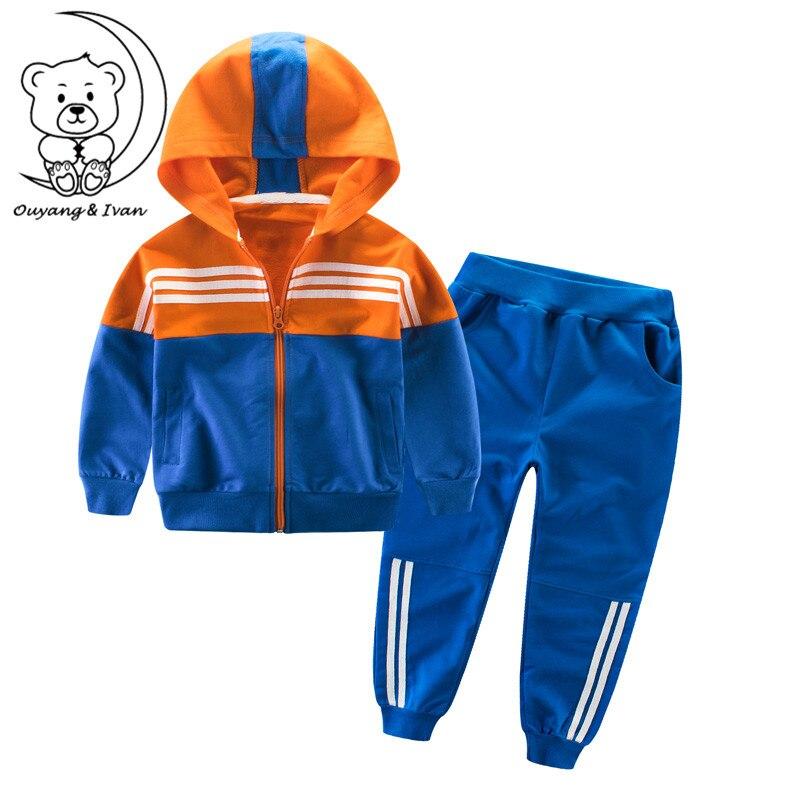 110-160cm spring and autumn children's clothing suit children sports set cotton two-piece zipper jacket boys girls sport sets015