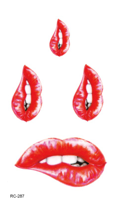 RC2287 Water Transfer Flash Fake Tattoo Sticker Sex Products Waterproof Temporary Tattoo Sticker The New Red Kiss Lips