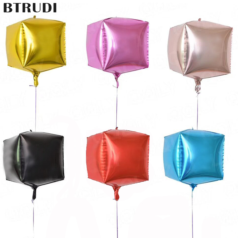 Taoup 1pc Bright Colors Gold Champagne Cube Balloons Foil Square Ballons Accessories Happy Birthday Party Decors Kids Wedding New Varieties Are Introduced One After Another Festive & Party Supplies Home & Garden