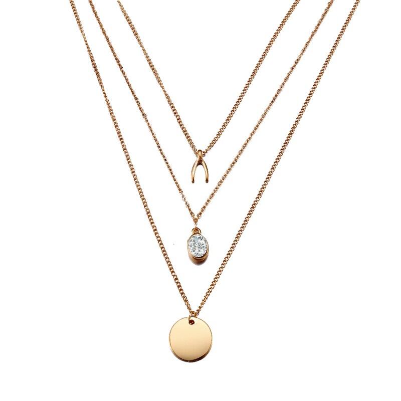 Многослойный Кристалл лунные ожерелья и кулоны для женщин винтажное очаровательное Золотое колье ожерелье богемное ювелирное изделие - Окраска металла: FCS49151