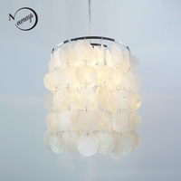 DIY Modern White Natural Seashell Iron Pendant Lamps Verner Panton Shell Led Light E14 Cord For