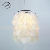 DIY Modern White Natural Seashell Iron Pendant Lamps Verner Panton Shell Led Light E14 Cord For