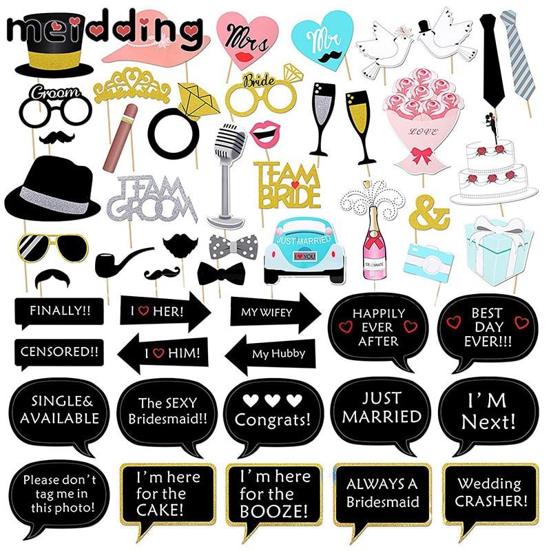 MEIDDING 52pcs Creative Wedding Photo Props Dialog Box Cake Hat Moustache Paperboard Wedding Decor Hen Party Supplies Booth