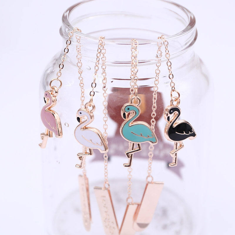 Flamingos Metal Chain Pendant Bookmark Marker Of Page School Office Supply Student Stationery