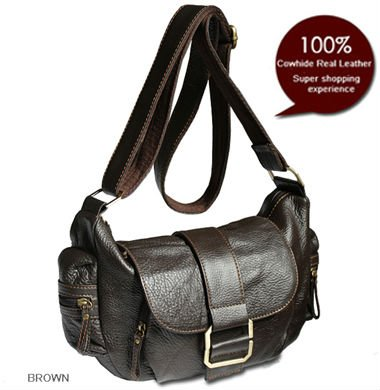 ФОТО New 2015 Genuine Leather women messenger bag Crossbody Bag for women leather shoulder bag Sling Casual Bag Brown free shipping