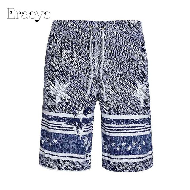 ERAEYE Summer Beach Pants Men Loose Fast Dry Pants Leisure Masculina Shorts Mens Board  Wear Quick Dry Silver Five Points Shorts