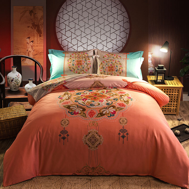 Pink Color Chinese Traditional Pattern Bedding Sets Full Queen King Size Bedclothes Duvet Cover Cotton Woven 600TC Girls AdultsPink Color Chinese Traditional Pattern Bedding Sets Full Queen King Size Bedclothes Duvet Cover Cotton Woven 600TC Girls Adults