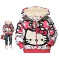 1 ШТ./ЛОТ детские куртки для девочек детские зимние мальчики куртки малышей С Капюшоном Пуловер зимняя куртка Привет Толстовки kitty Одежда
