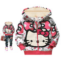 1PC/LOT kids jackets for girls baby winter boys jackets toddler Hooded Pullover winter Fleece jacket Hello Hoodies kitty Clothes