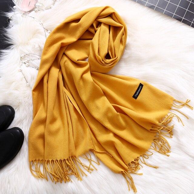 Moda 2019 nowa wiosna zimowe szaliki dla kobiet szale i chusty lady pashmina czysta długa kaszmirowy szalik na głowę hijabs etole