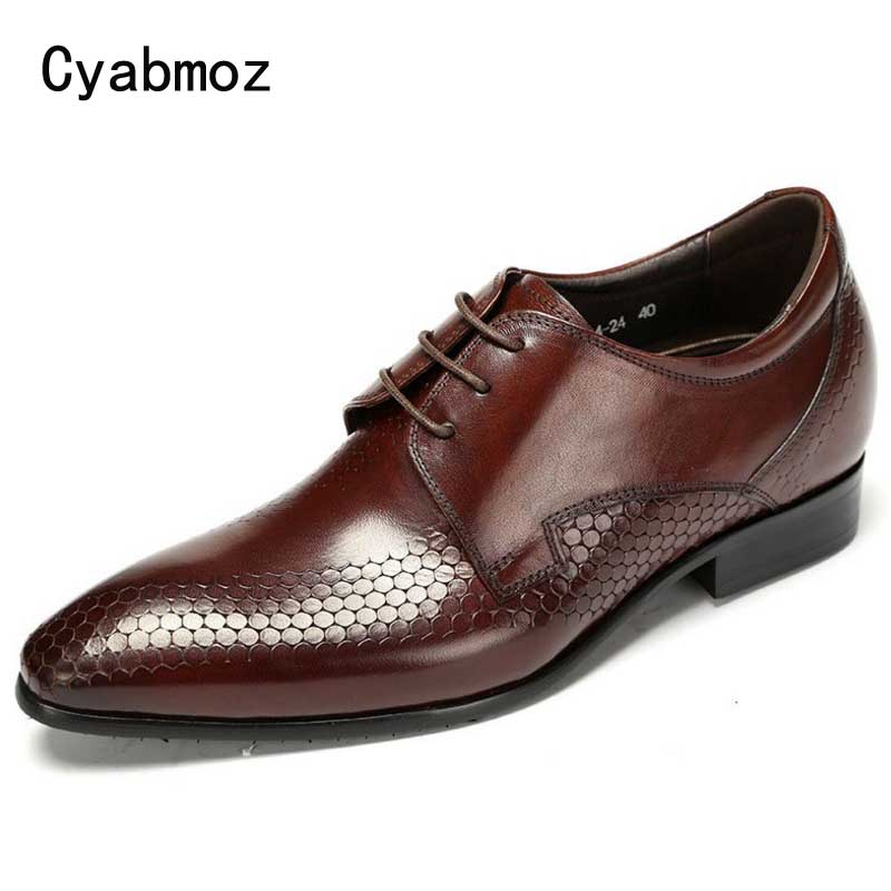 Cyabmoz Men Luxury Genuine Leather Buiness Dress Shoes Male's Invisible Elevator Height increasing 5cm Solid Formal Brogue Shoes fashion genuine leather brogue shoes men spring new dress shoes formal shoes height increasing platform men shoes hot sale