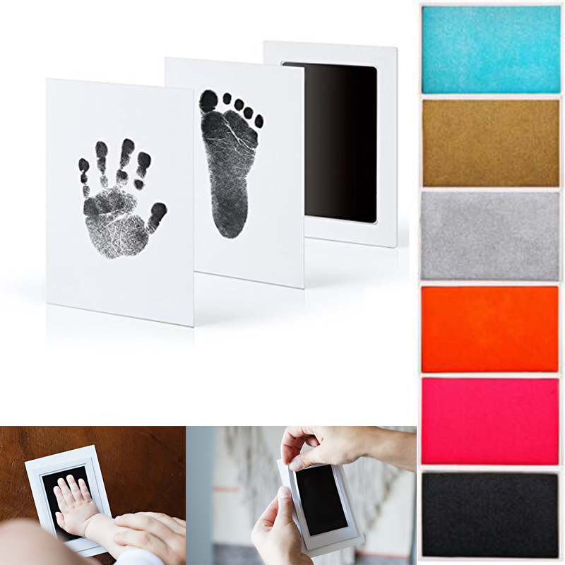 Baby Photo Frame Baby Footprint Non-Toxic Photo Frame DIY Handprint Footprint Imprint Kit Baby Souvenirs Casting Clay Print
