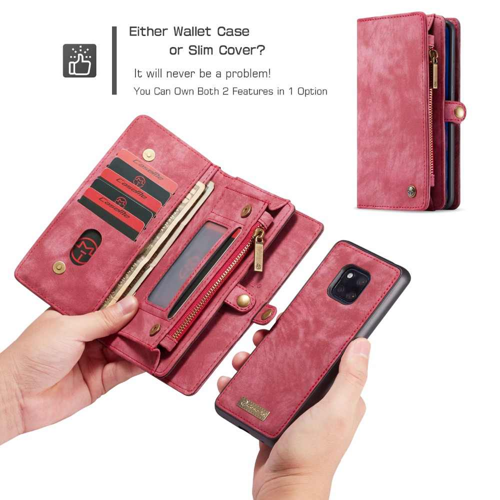 For Huawei Mate 20 Wallet Case Luxury Vintage Flip Folio Leather Case  Zipper Bag 2 in 1 Magnetic Cover For Huawei Mate 20 Pro