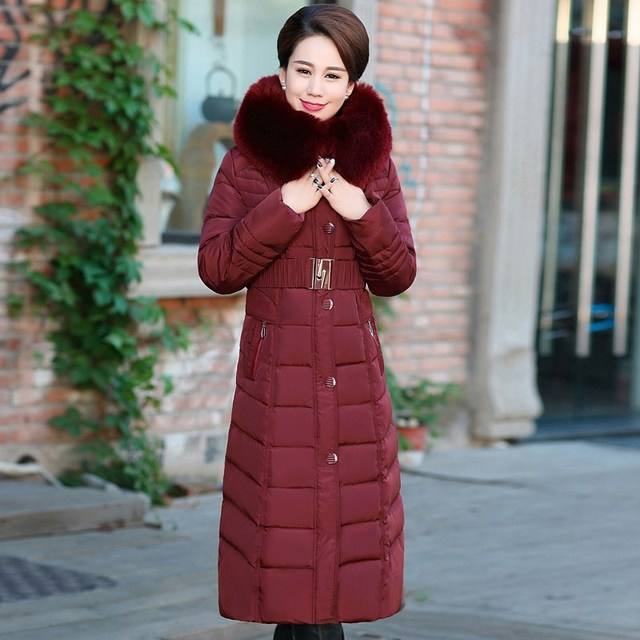 Winter Jacket New middle-aged Long section Cotton Outerwear Thickening Hooded Fur collar Cotton Parkas Large size L-5XL DD280 4