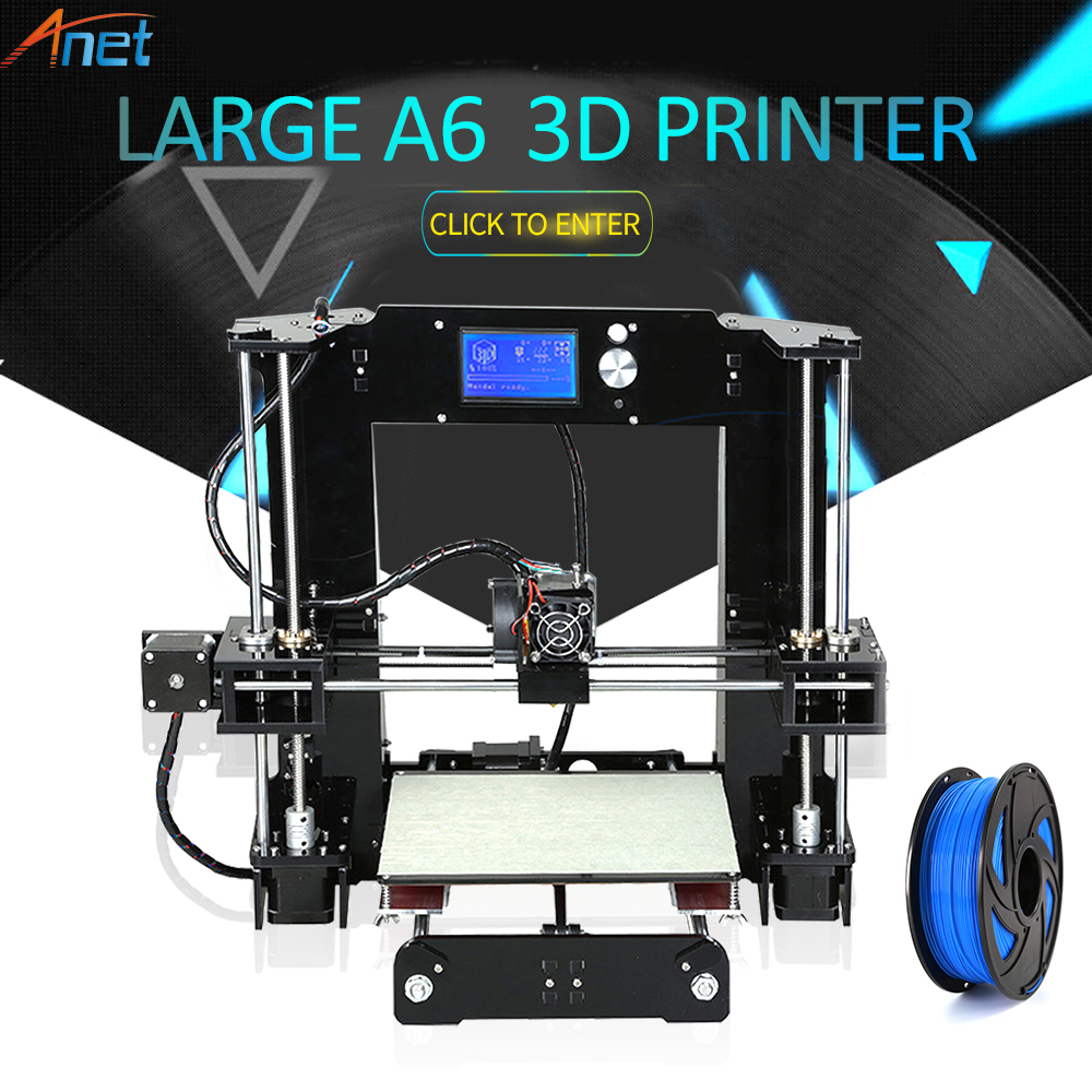 Anet A6 A8 3D Printer Kit Big Size 220*220*250mm/220*220*240mm Large Printing Size Hotbed with Filaments+8G/16G SD Card+Tools anet high precision auto leveling 3d printer big size lcd 2004 220 270 220mm metal 3d printer kit with 10m filament sd card
