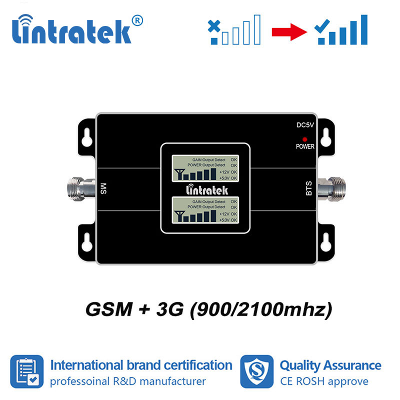 Lintratek 2G 3G Signal 2G 3G 900mhz 2100mhz Double Band Signal Booster LCD Display GSM 900 WCDMA 2100 Repeater Amplifier UMTS S6