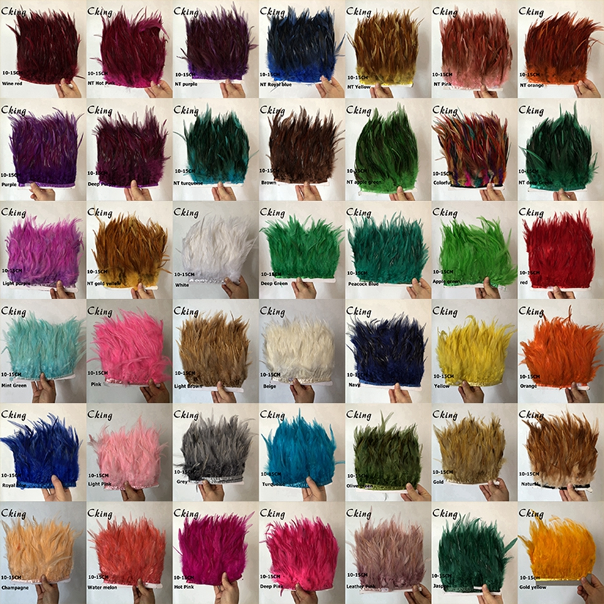 CKing 42 Colors 10 Meters Rooster Hackle Feather Trims Fringes 10-15cm 4-6inches Saddle Feather Ribbons Chicken Feather Trimming