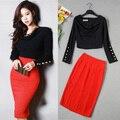 Women 2016 New Korean Style Button Long Sleeve Blouses Tops +  High Waist Slim Bodycon Skirt Office Work Wear 2pcs Suit