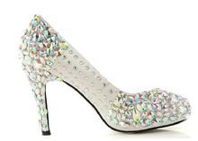 Satin Rhinestone and Crystal Women Platform Bridal Shoes,Evening,Party, Wedding Pumps Shoes Colorful Prom Shoes