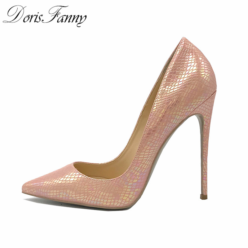 DorisFanny Pointy toe Pink heels luxury shoes women designers So Sexy Stiletto High Heels Kate women pumps big size 40 41 42 women pumps 11 cm thin heels fashion beautiful pointy toe spell color sexy shoes discount sale free shipping