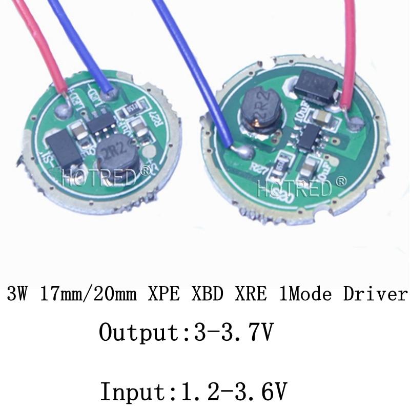 10PCS 3W LED Driver 16mm/20mm DC3.7V 1 Mode LED Flashlight  Driver For CREE XRE-Q5/XPE XP-E /XBD XB-D All Kind Of 3W LED Light