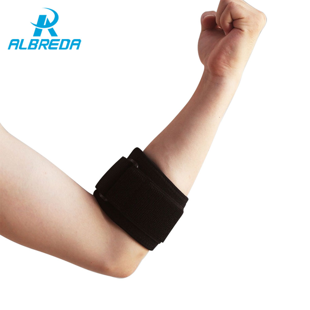 ALBREDA 1p Adjustable Tennis Elbow Support Pad Basketball Football armband Compression Guard Strap elbow Pads Protect sport safe